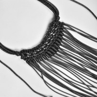 Rich Leather Necklace with Beads A90193