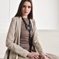 Beautiful Leather Pendant Necklace A90226