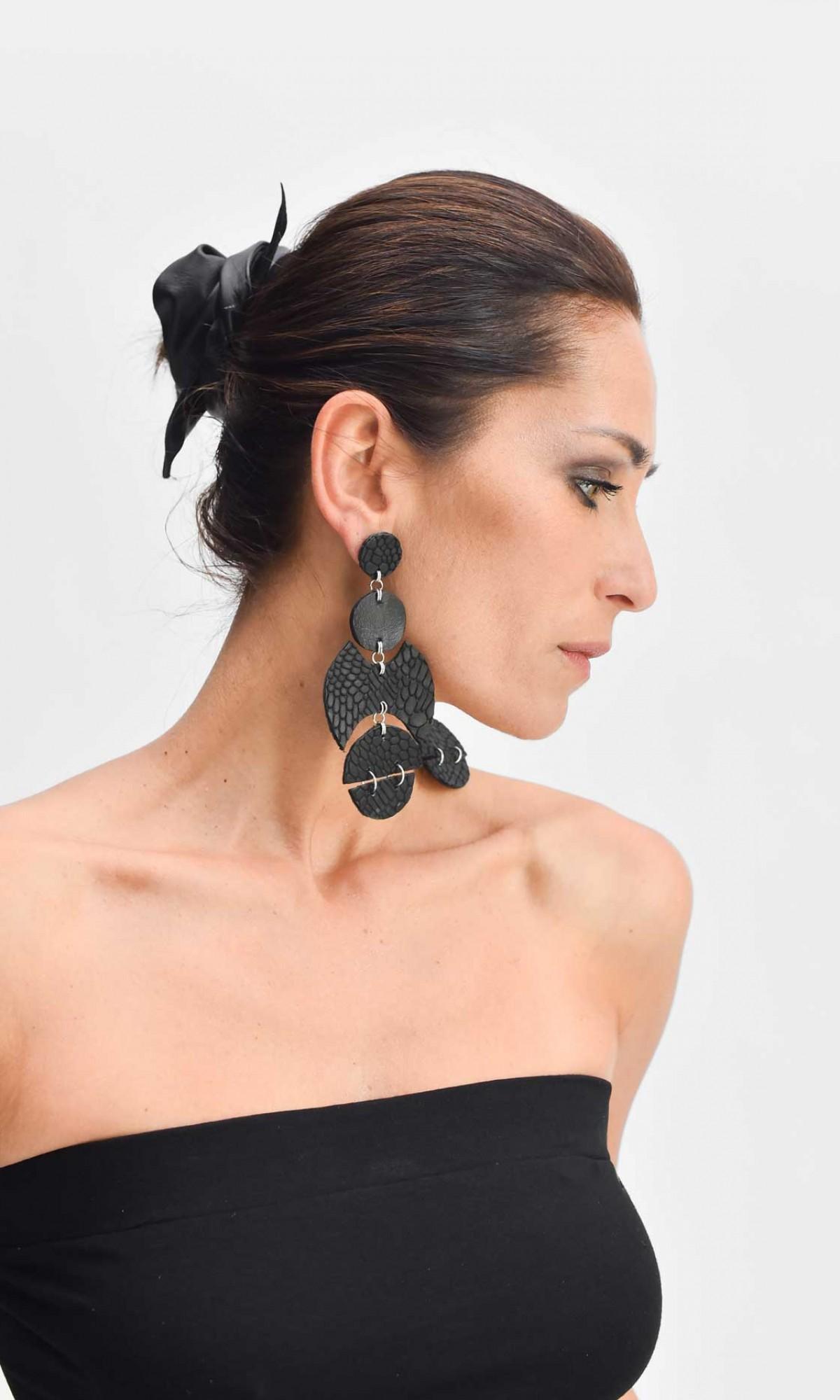 Leather Petal Earrings A90322