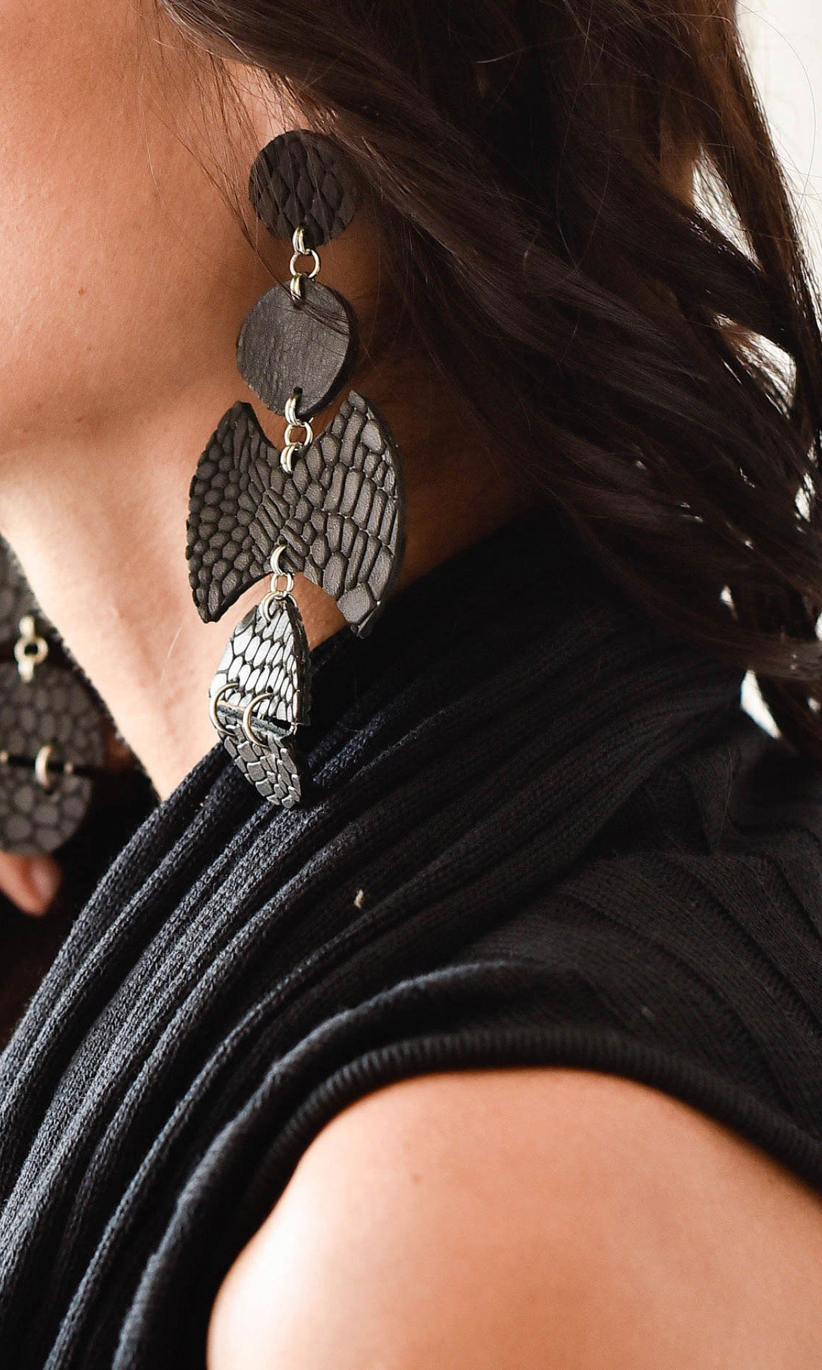 Leather Petal Earrings A90322