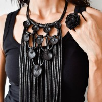 Trendy Rich Leather Ornaments Long Necklace A90324