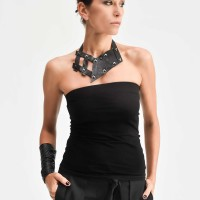 Leather Ornaments Collar Necklace A90378