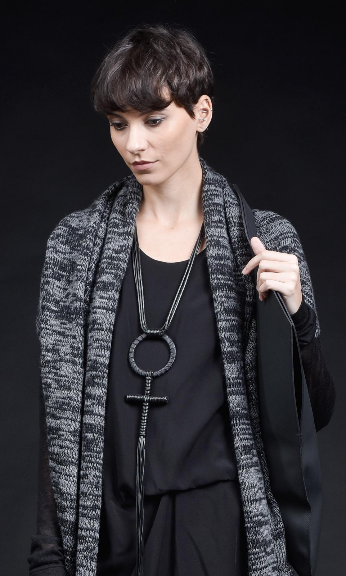 Trendy Leather cross pendant necklace A16662