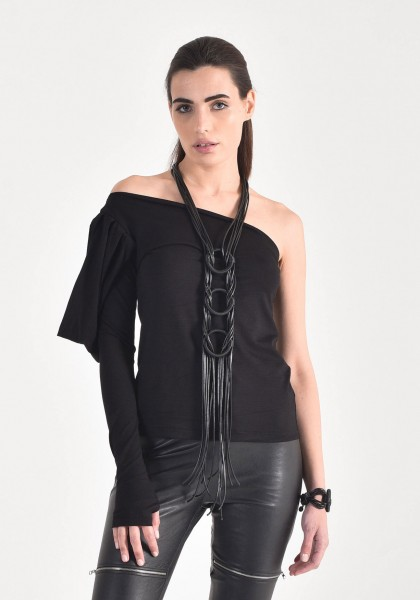 Extravagant Long Leather circles Necklace A90473