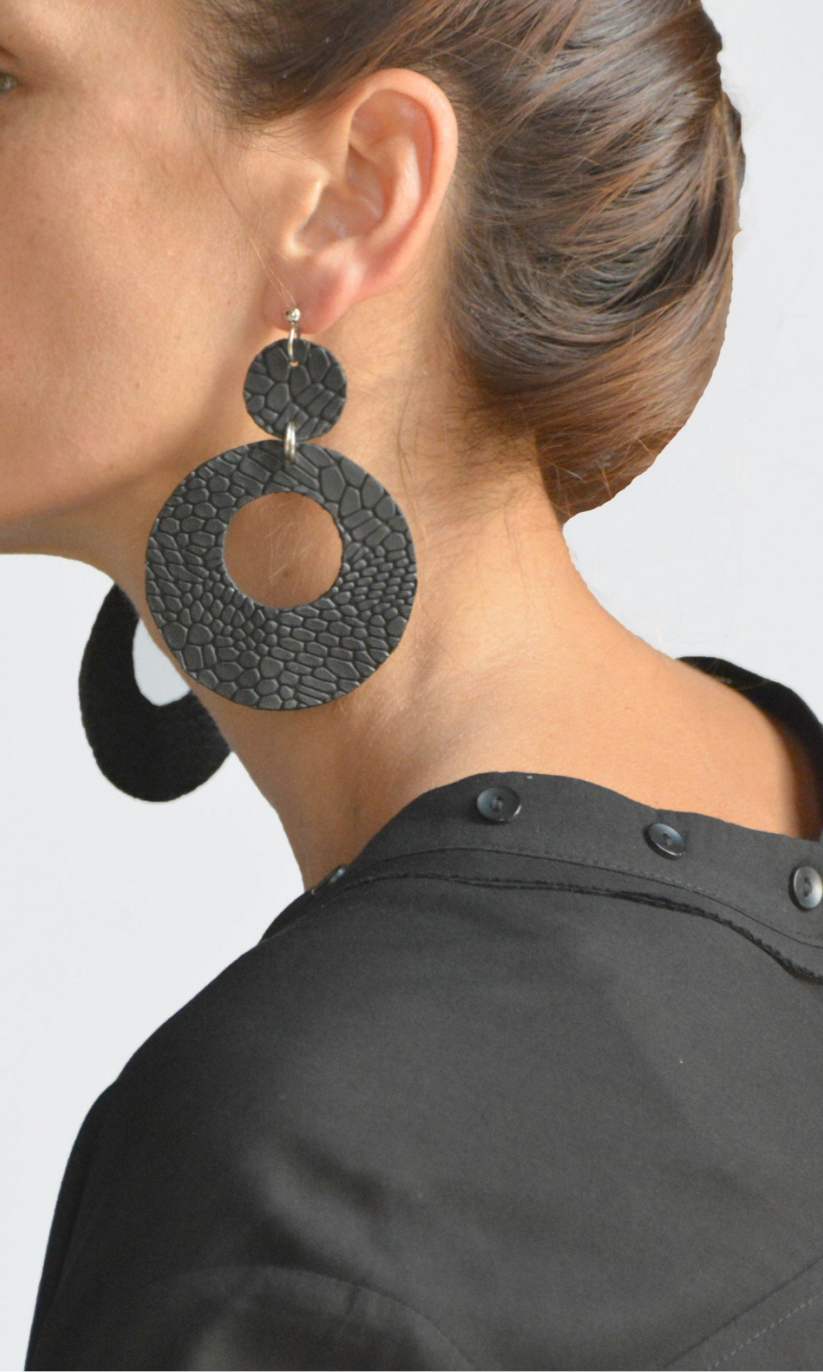 Leather Petal Earrings A90556