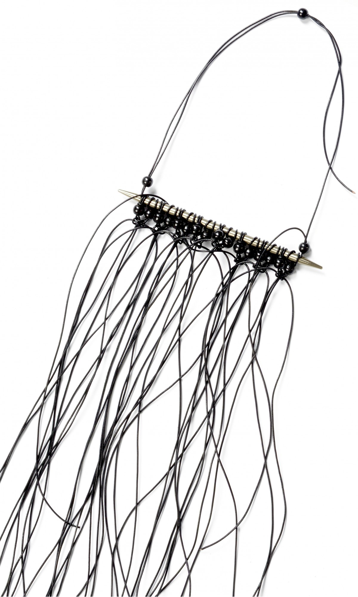 Extravagant Black Leather Beads and Steel  Macramé Necklace A16330