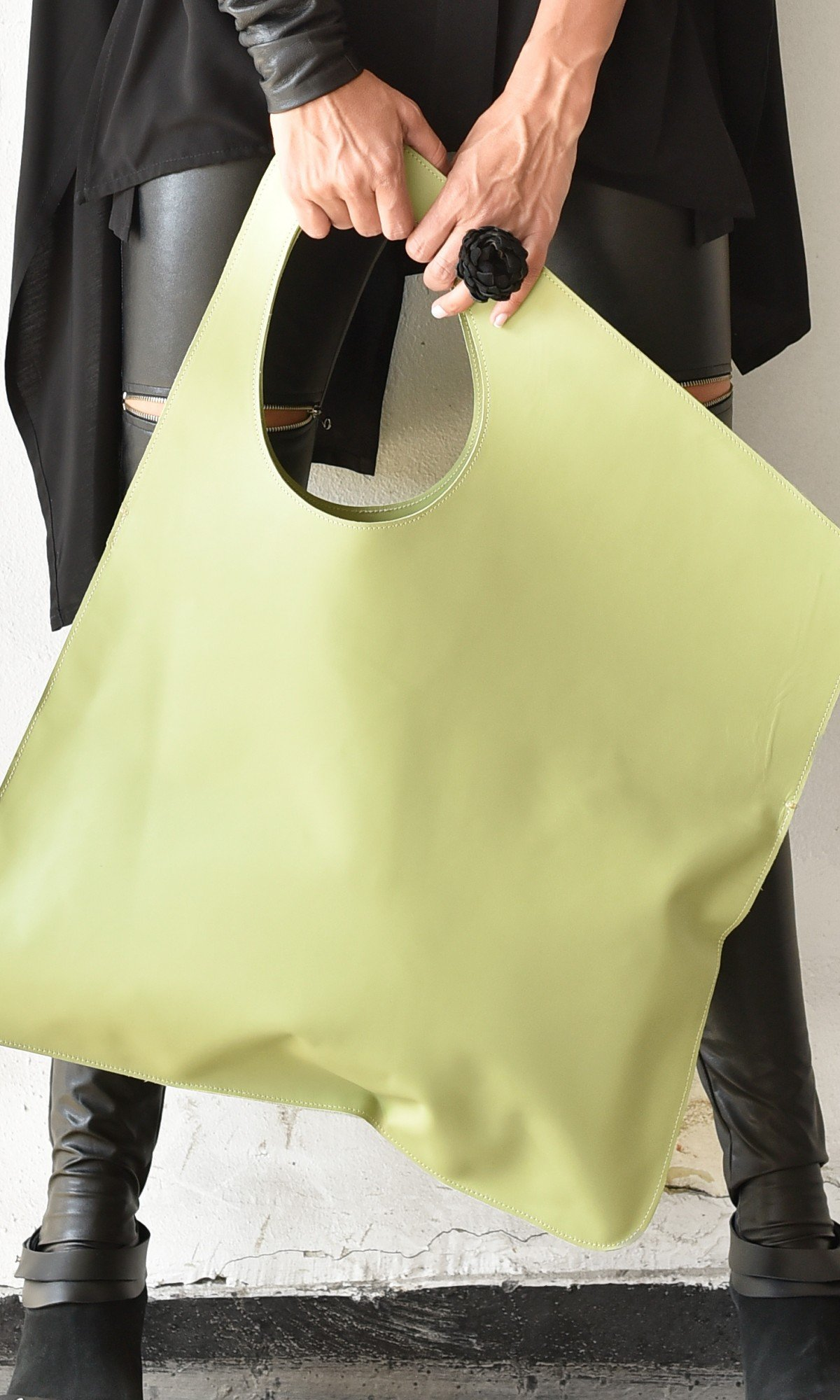 Large Extravagant Mint Green genuine leather Bag A14176