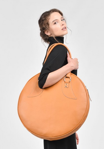 """Amber"" Genuine Leather Big Circle Bag A14318"