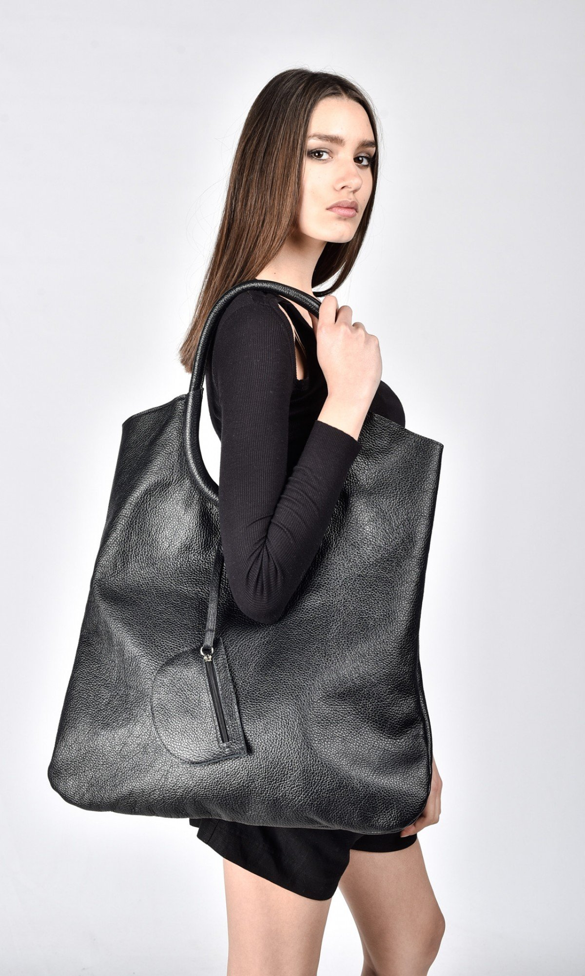 Black Genuine Leather Tote Bag A14327
