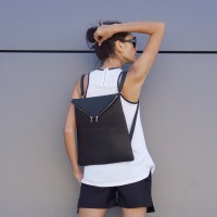 Bags - Black Genuine Leather Backpack A14413