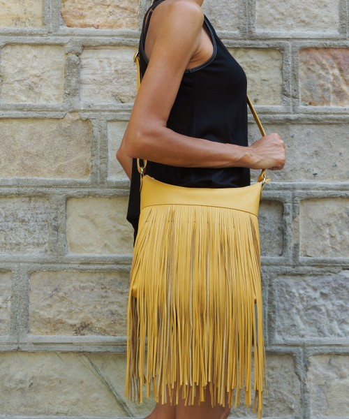 Fringe Genuine Leather Shoulder Bag A14424