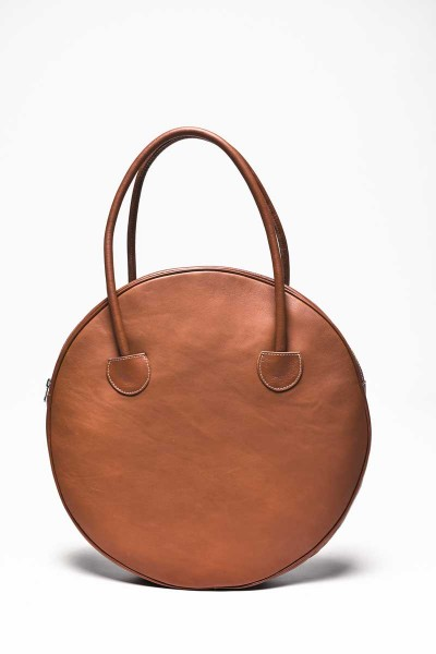"""Dark Pumpkin"" Genuine Leather Circle Bag A14431"