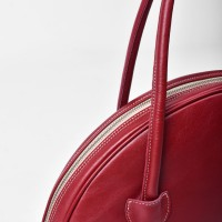 Red Genuine Leather Circle Bag A14431