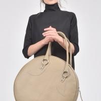 """Taupe"" Genuine Leather Big Circle Bag A14318"