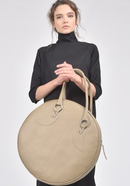"""Taupe"" Genuine Leather Big Circle Bag A14318"