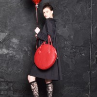 Red Genuine Leather Small Circle Bag A14431