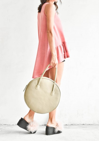 Taupe Genuine Leather Small Circle Bag A14431