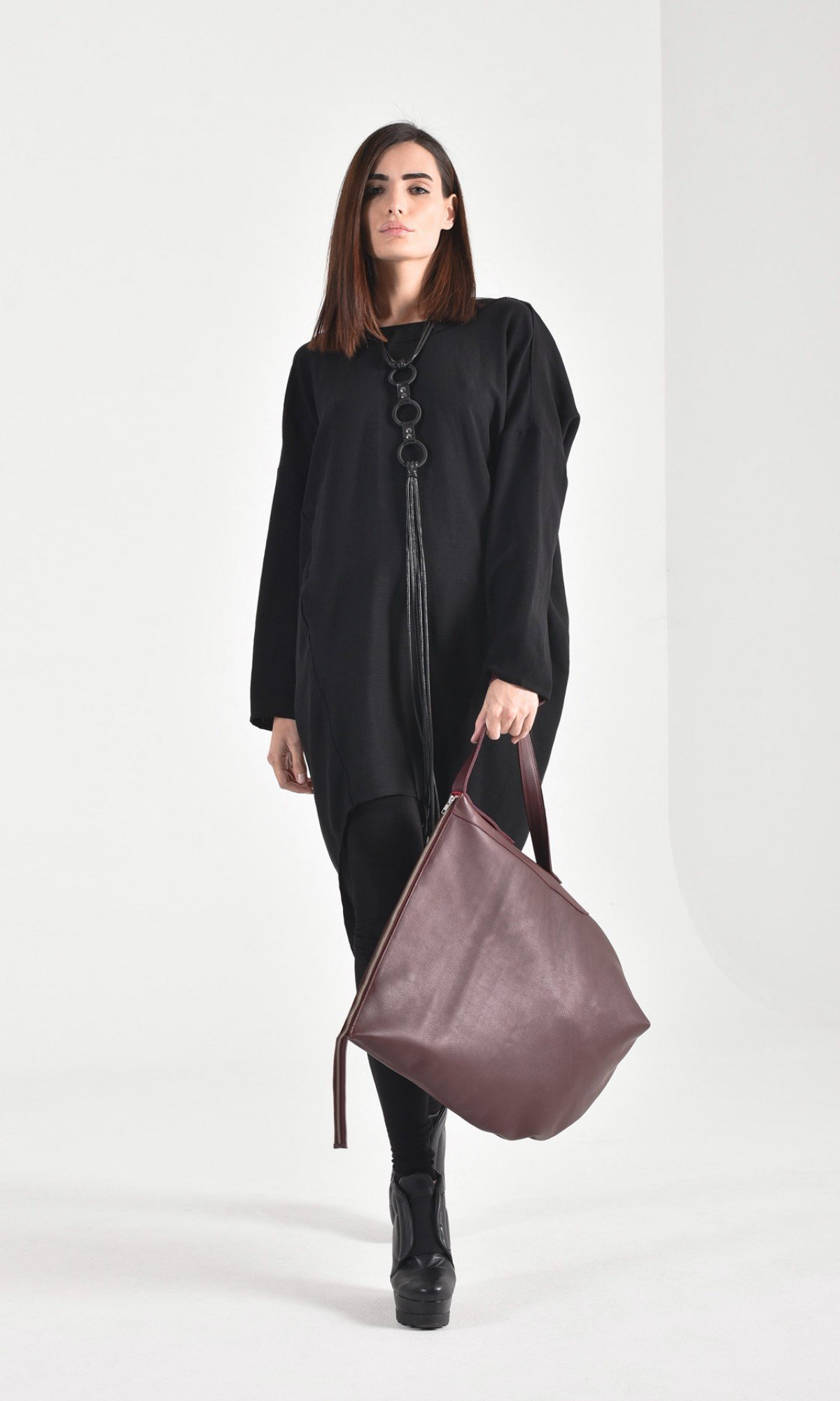 Oversize Genuine Leather Shopper Bag A14448
