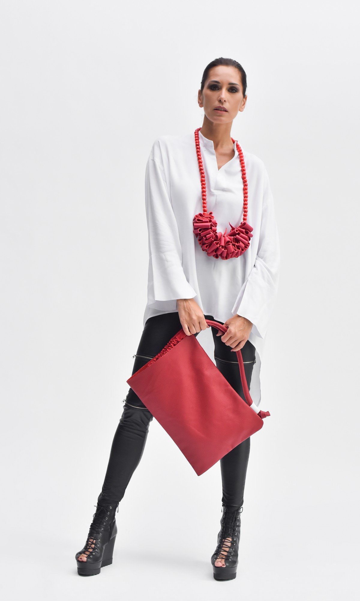 Small Leather Side Handle Shopper Bag A14829