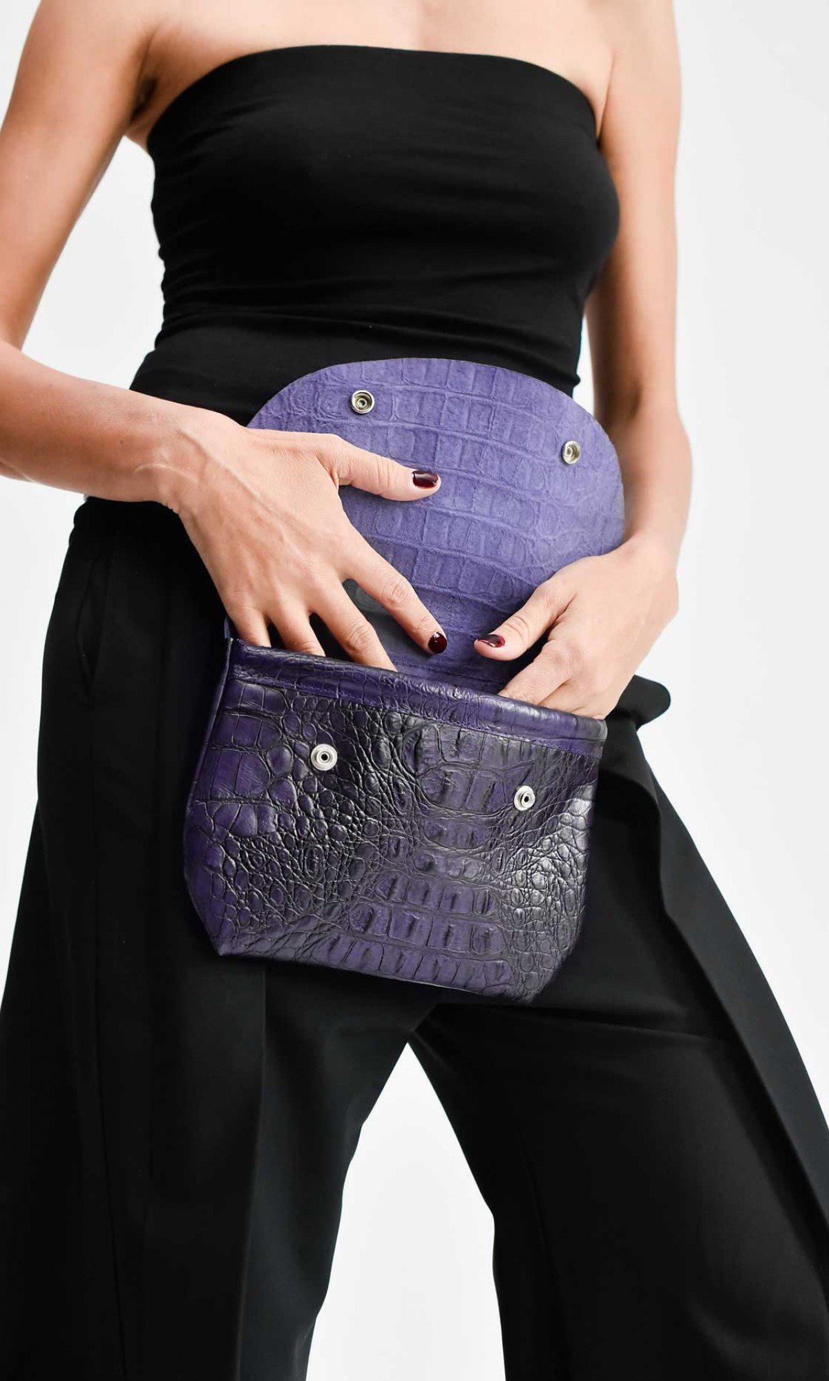 Croc Pattern Leather Belt Bag A14828