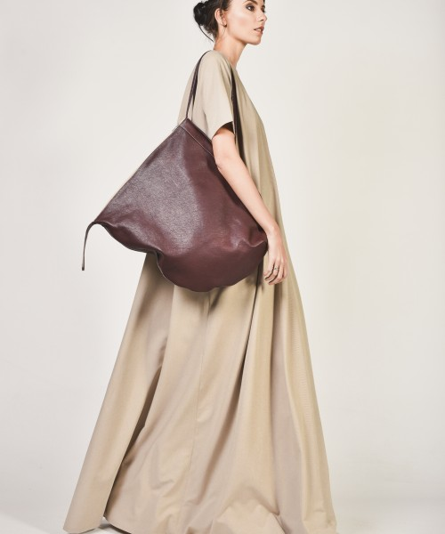Oversize Genuine Leather Shopper Bag A14448