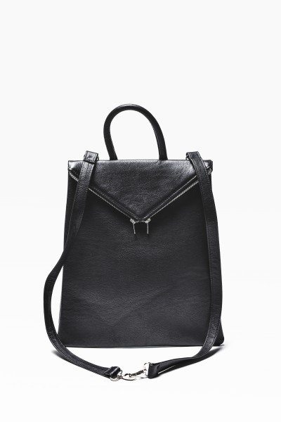 Black Genuine Leather Backpack A14413