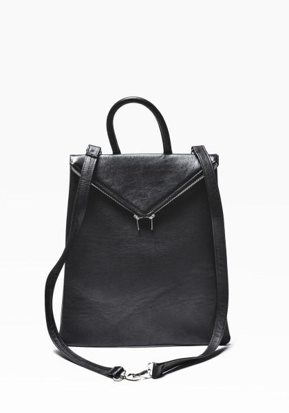 Black Genuine Leather Backpack A14413