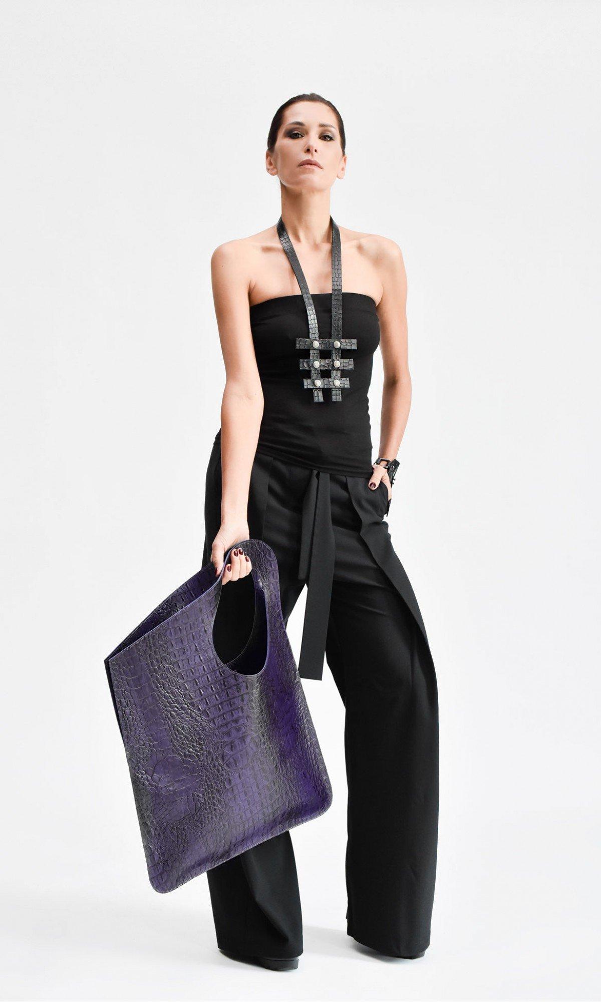 Large Extravagant Croco Genuine Leather Bag A14259