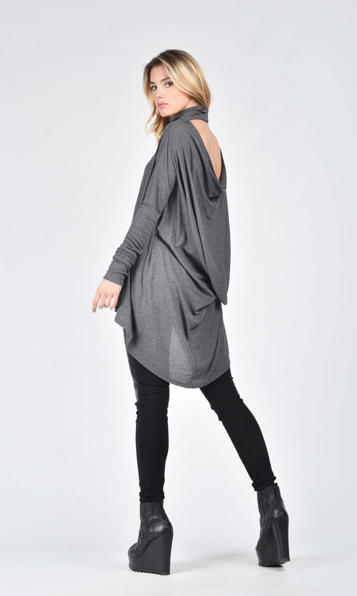Turtle Neck Open Back top A12025