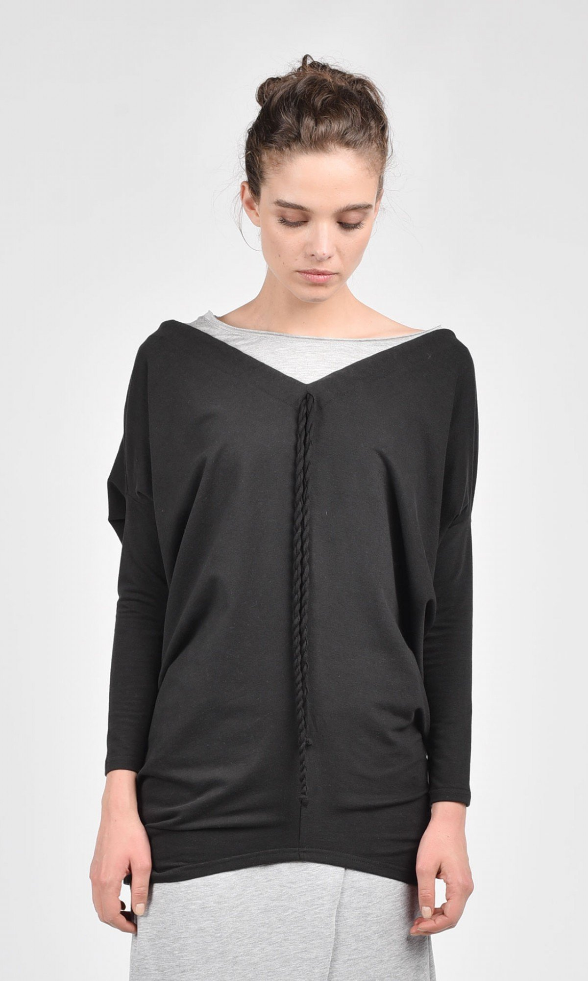 Extravagant Black Tunic A02185