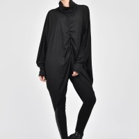 Black Loose Turtle Neck Top A12037