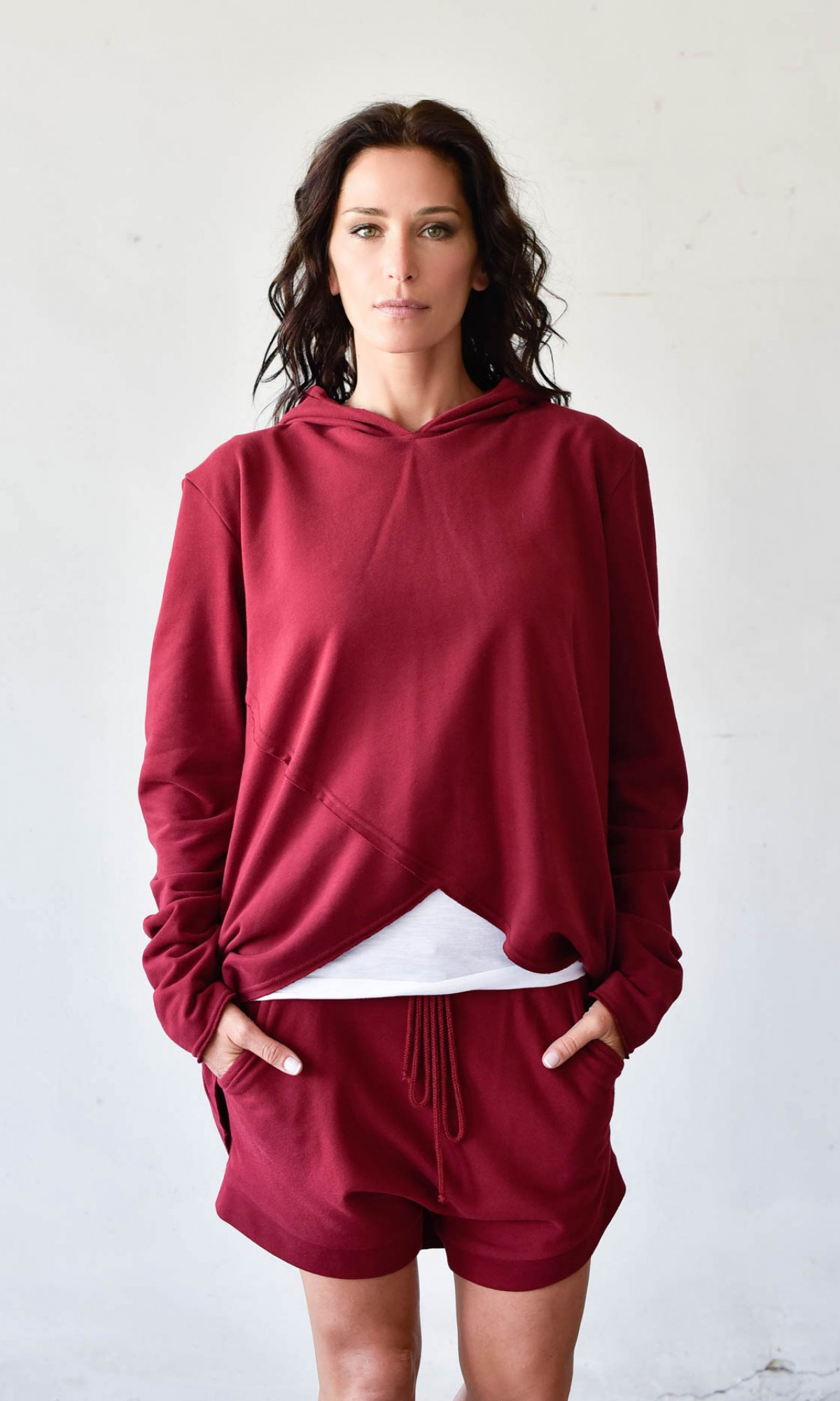 Asymmetric Long Sleeves Hooded Sweatshirt  A12239
