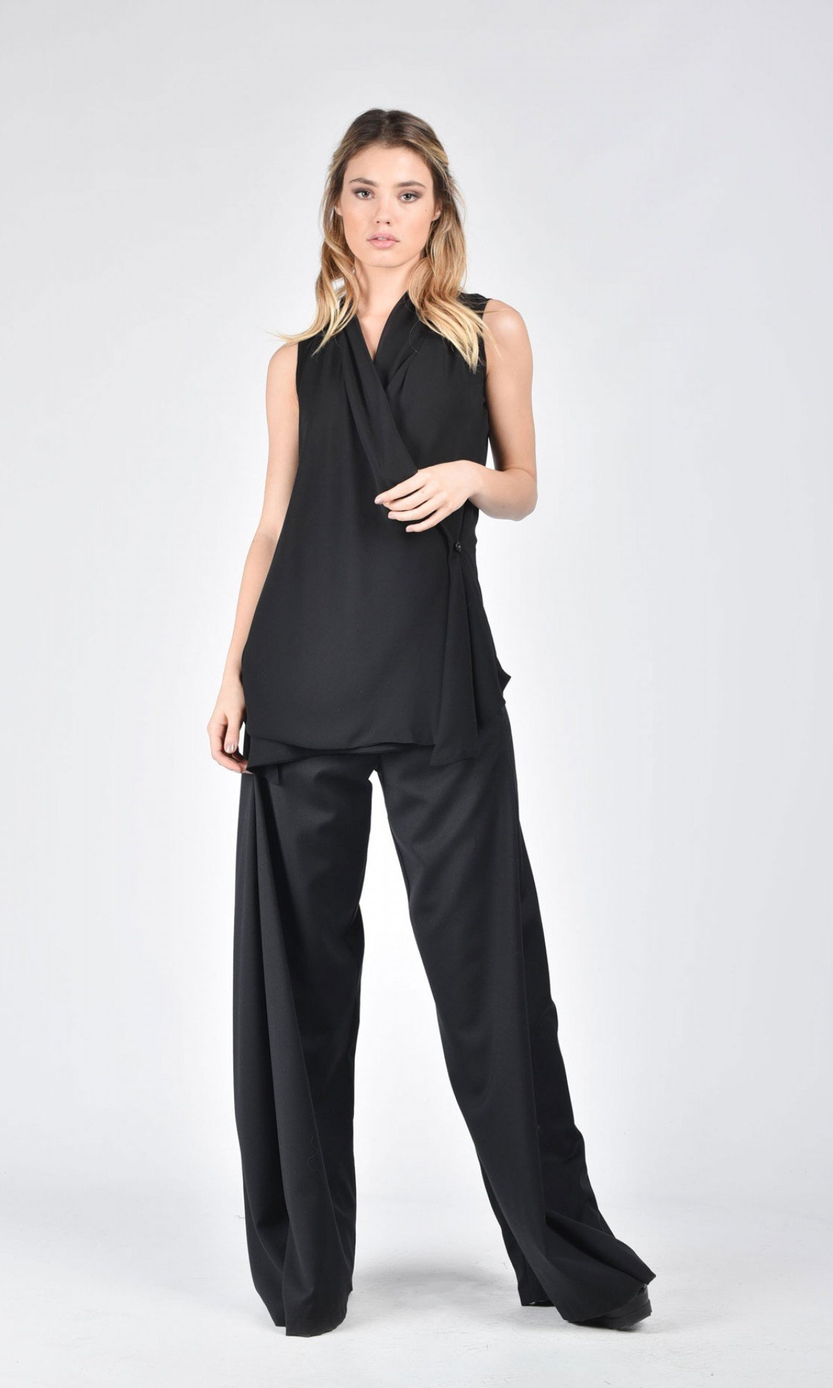 Black Chiffon Top A12389