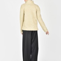 Ivory Wool Long Sleeved Turtle Neck Top A20334