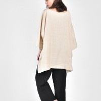 Long Back midi sleeves linen blouse A90087