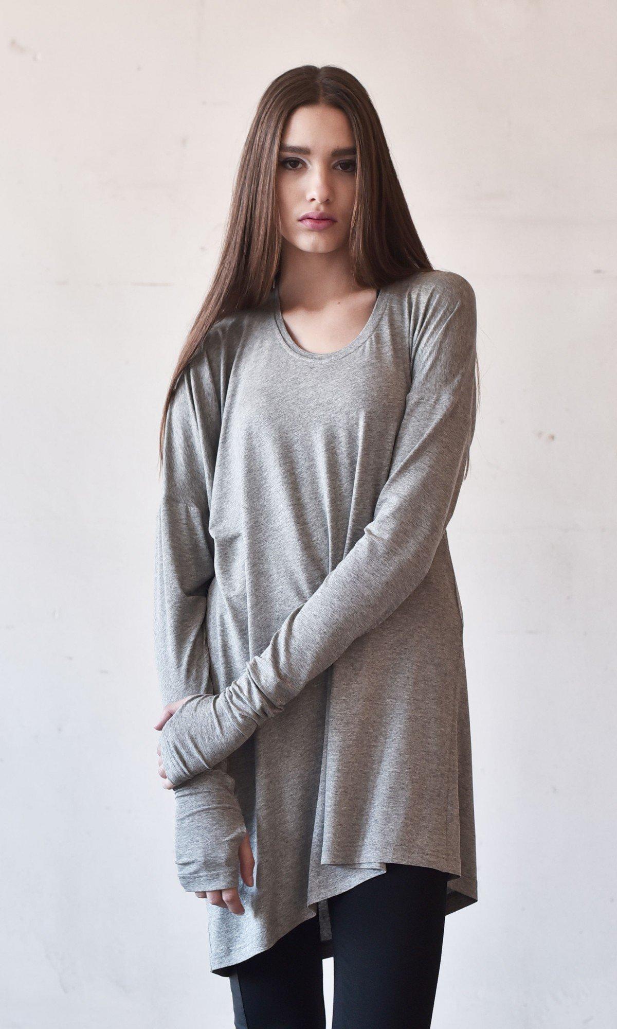 Sexy Casual Extra Long Sleeves Tencel Top A90167