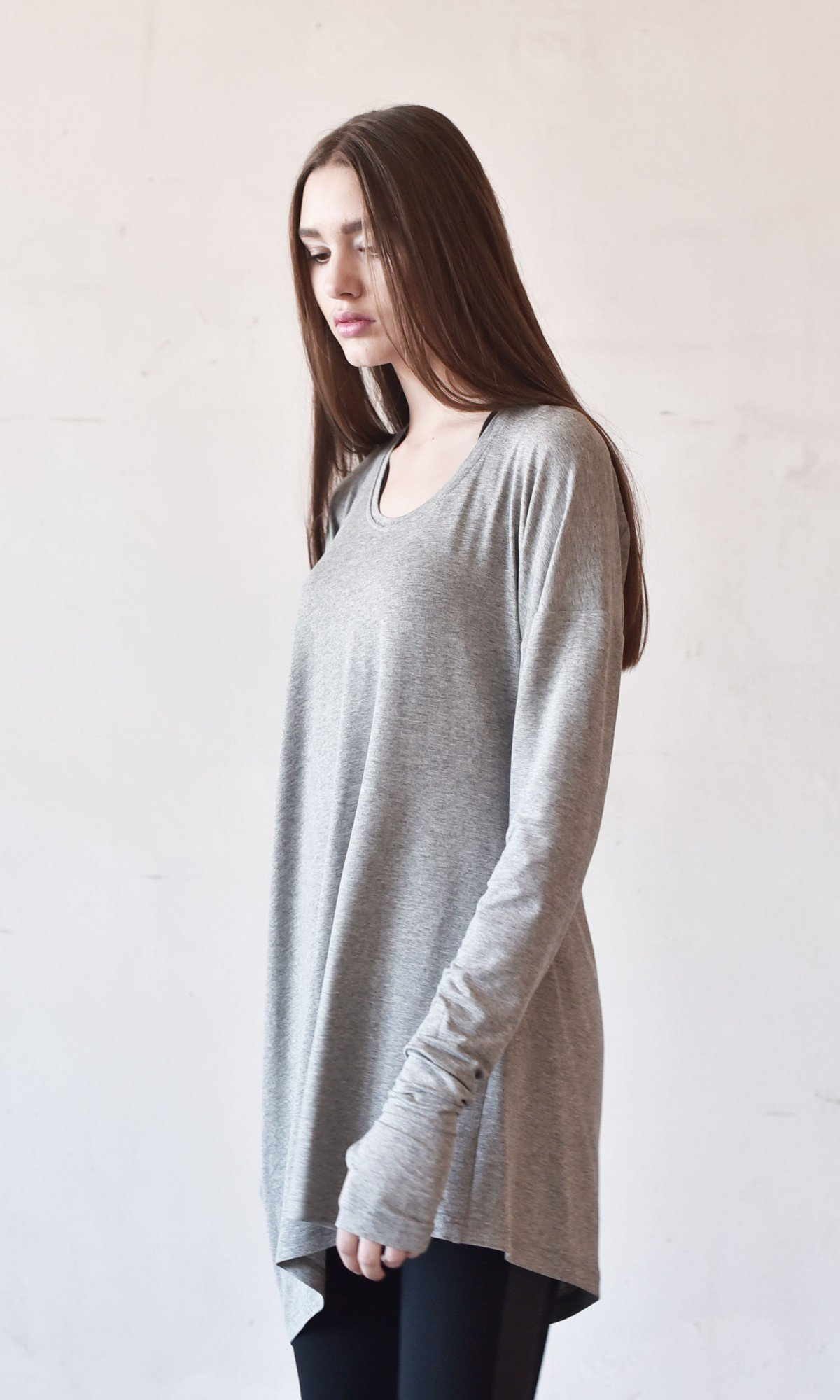 Sexy Casual Extra Long Sleeves Tencel Top A90167
