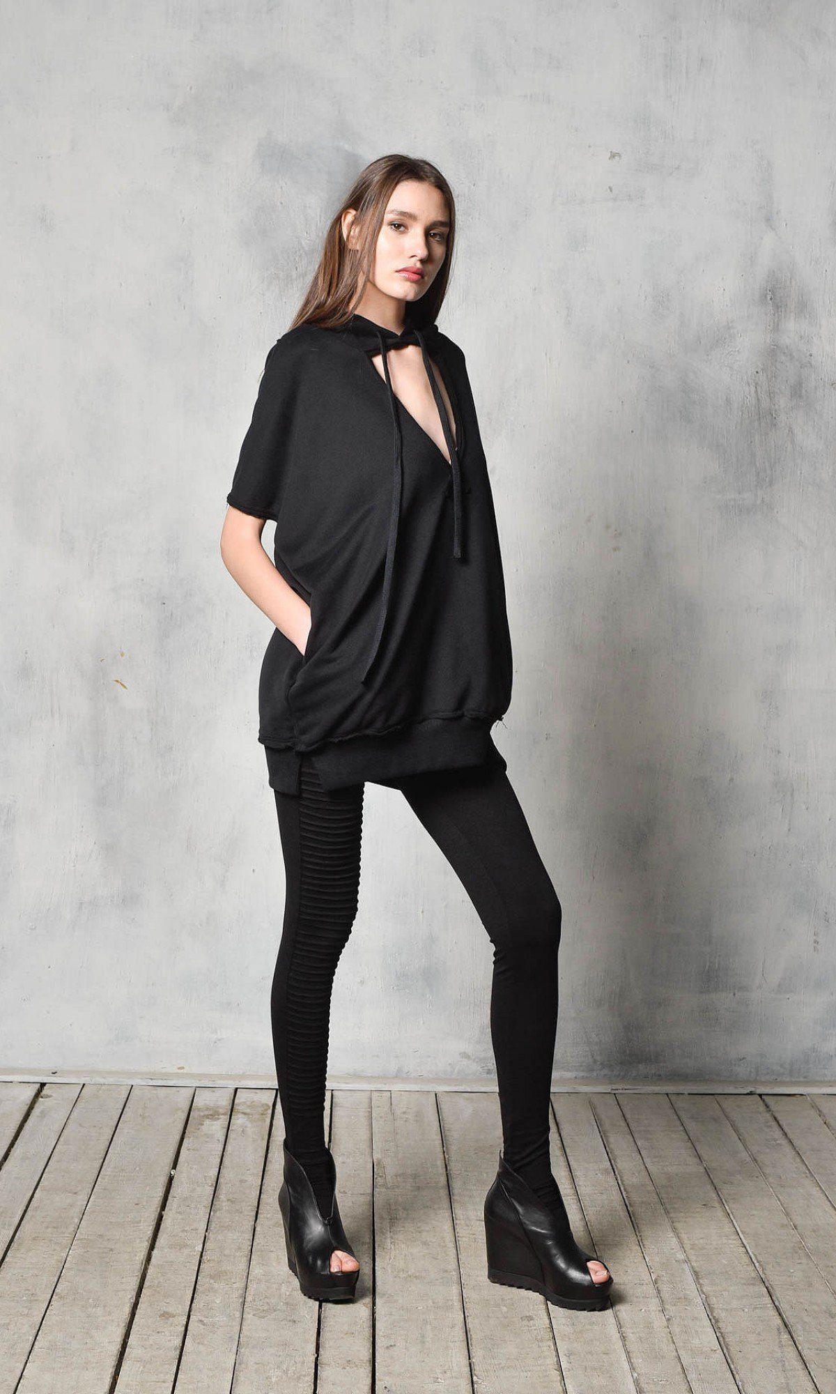 Sexy Hooded Sweatshirt with wide neckline A90242