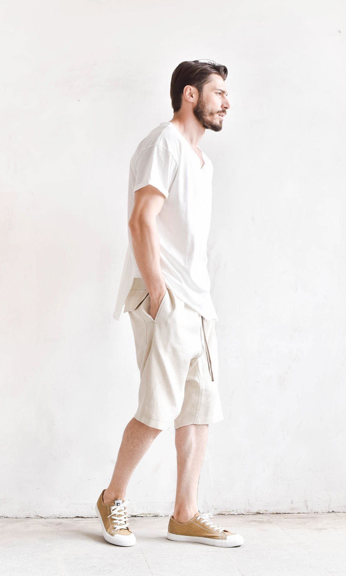 Casual Drop Crotch Linen Harem Pants A90352M