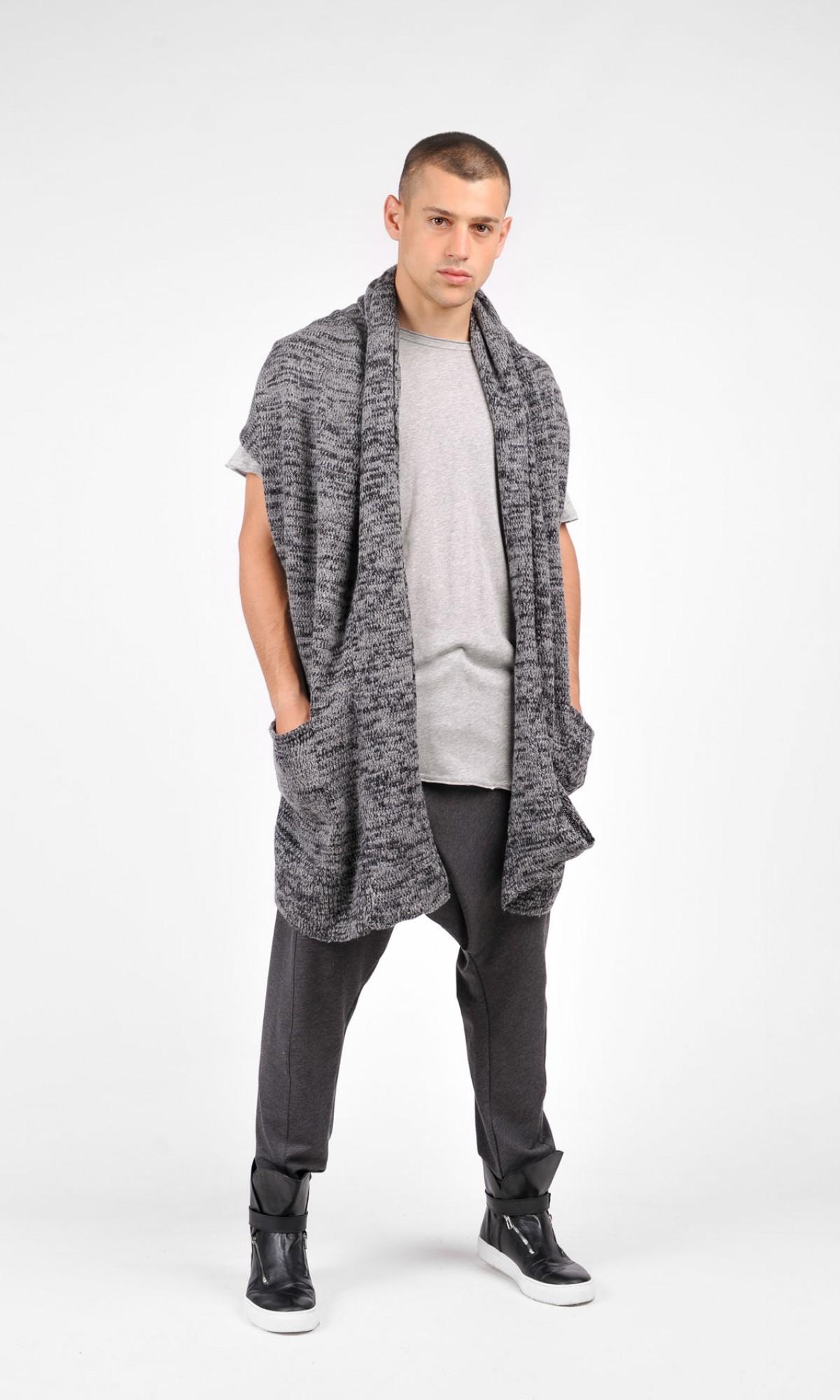 Oversize Sleeveless Grey Melange Fully Knit Vest A06213M