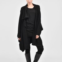 Oversized Black Knit Vest  with Long Sleeves A06530