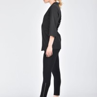 Black Cut Out Back Slim Blazer A10690