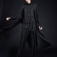 Straight Black Hooded Cardigan A06794