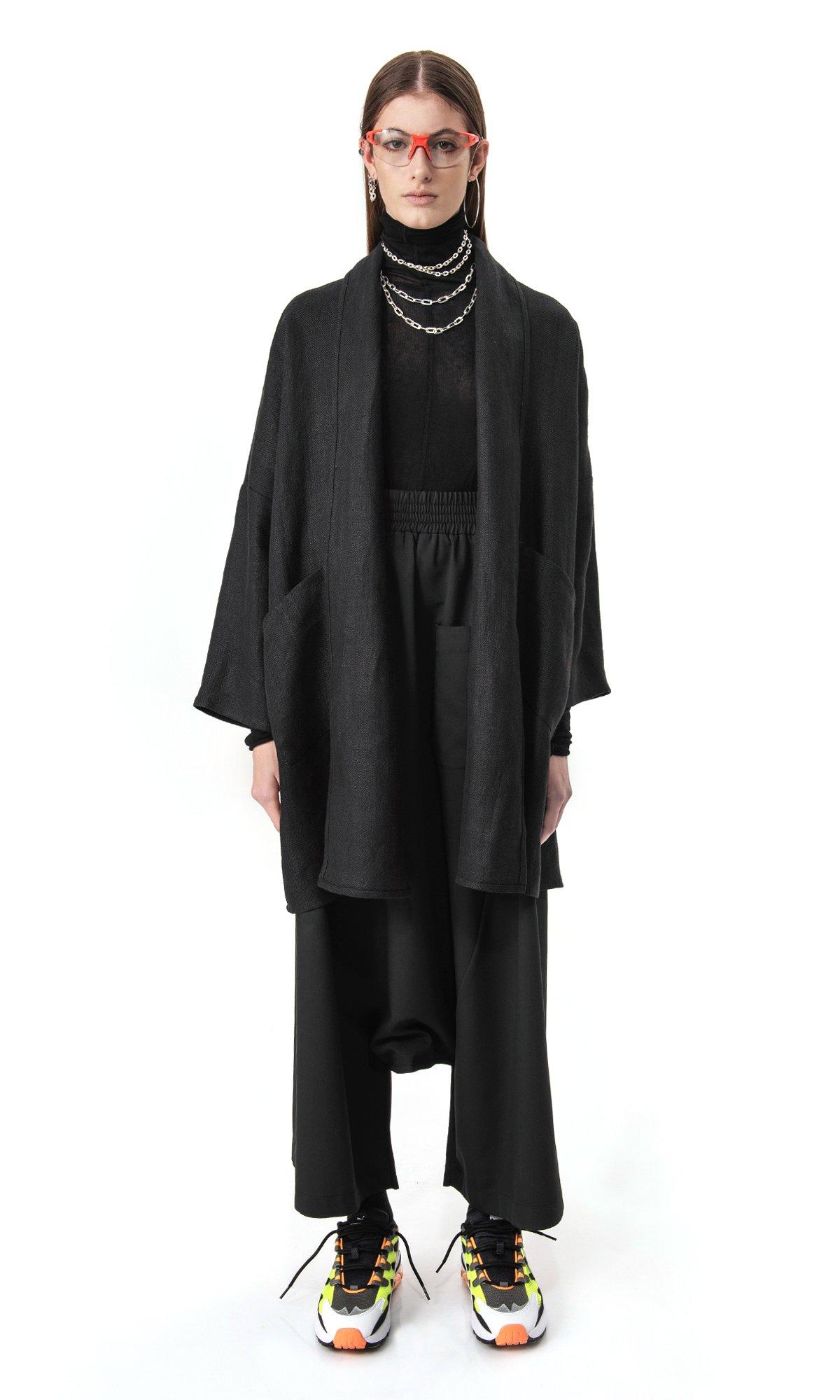 Elegant Straight linen coat A90575