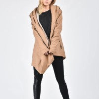 Asymmetric Extravagant Hooded Coat A07080
