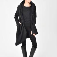 Asymmetric Extravagant Hooded Coat A07080