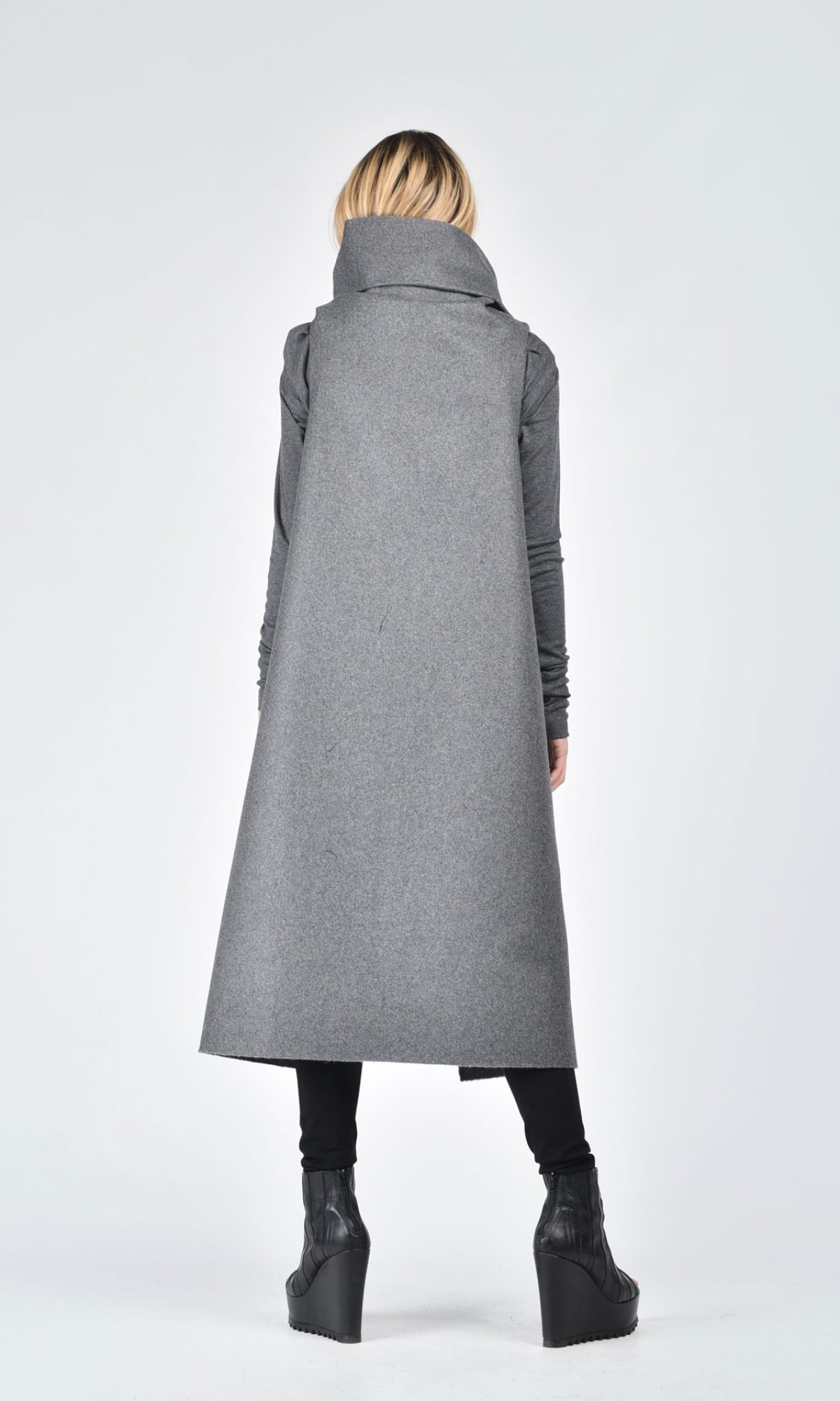 21a0bb44fbfcb Soft Grey High Quality Kasha Fabric Sleeveless Coat