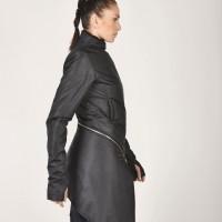Winter Warm Asymmetric Extravagant Black Coat A07149