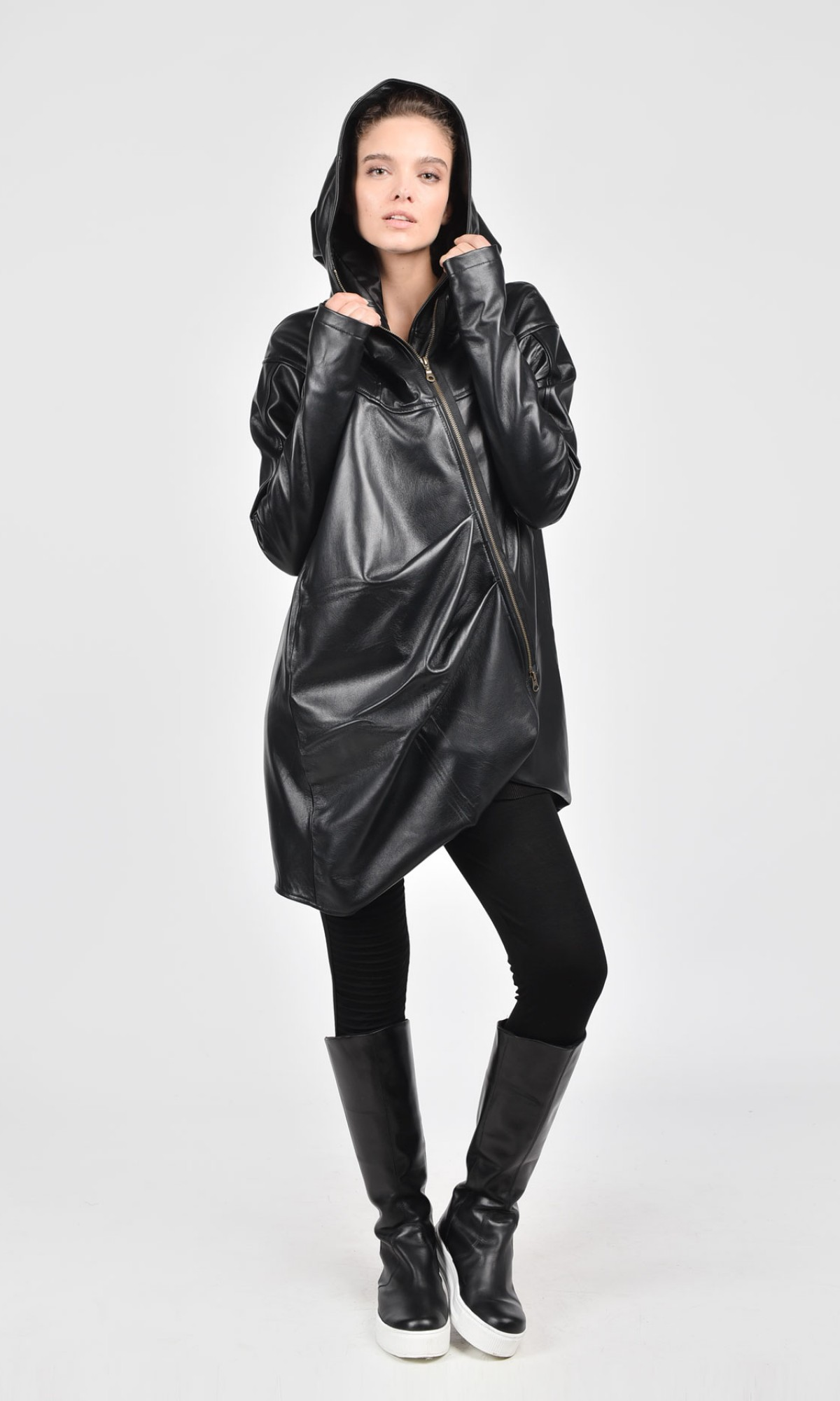 Asymmetric  Black Genuine Leather Hooded Coat A07157