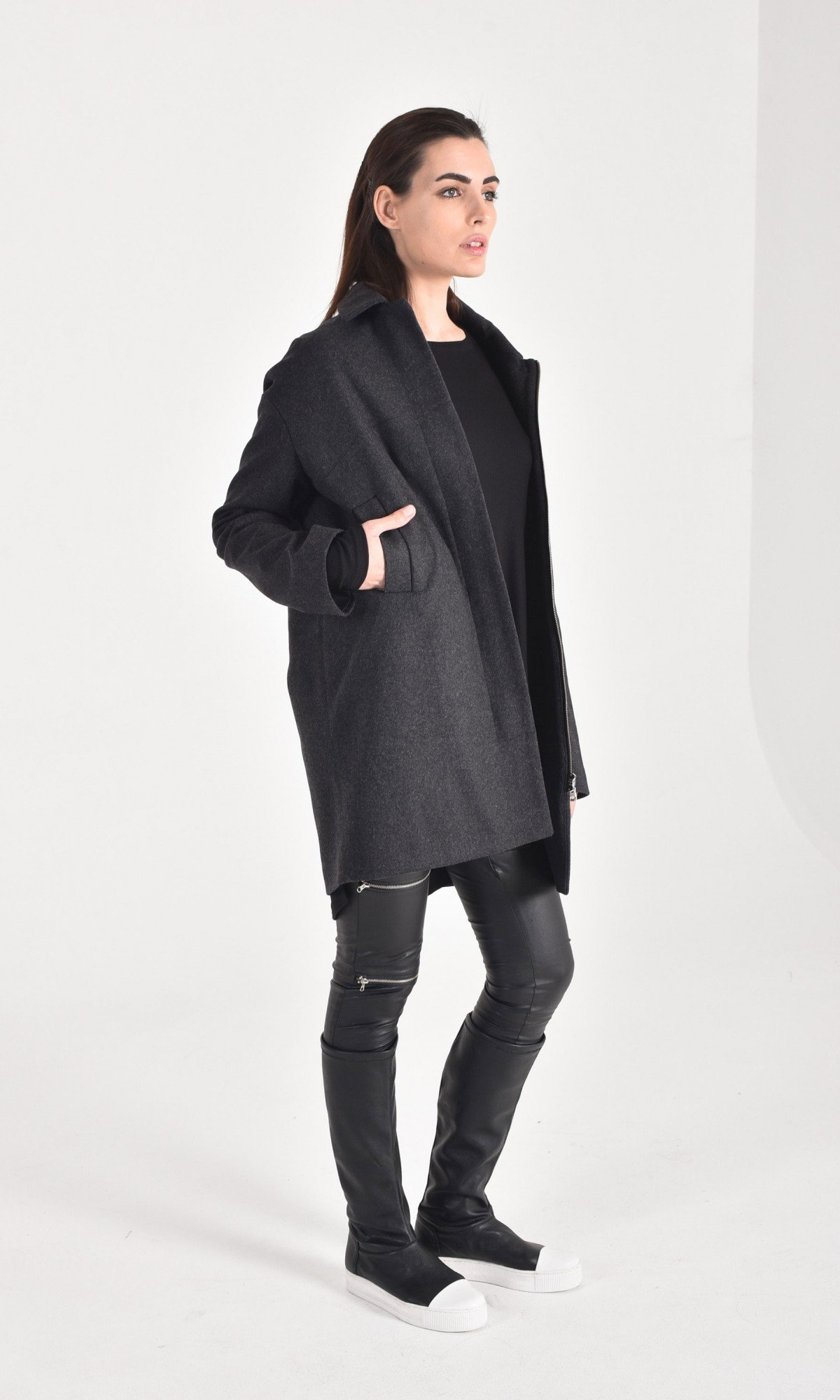 Straight Cashmere Short Coat A07158